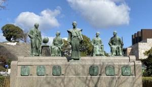 Statue d'un guerrier japonais à Kumamoto