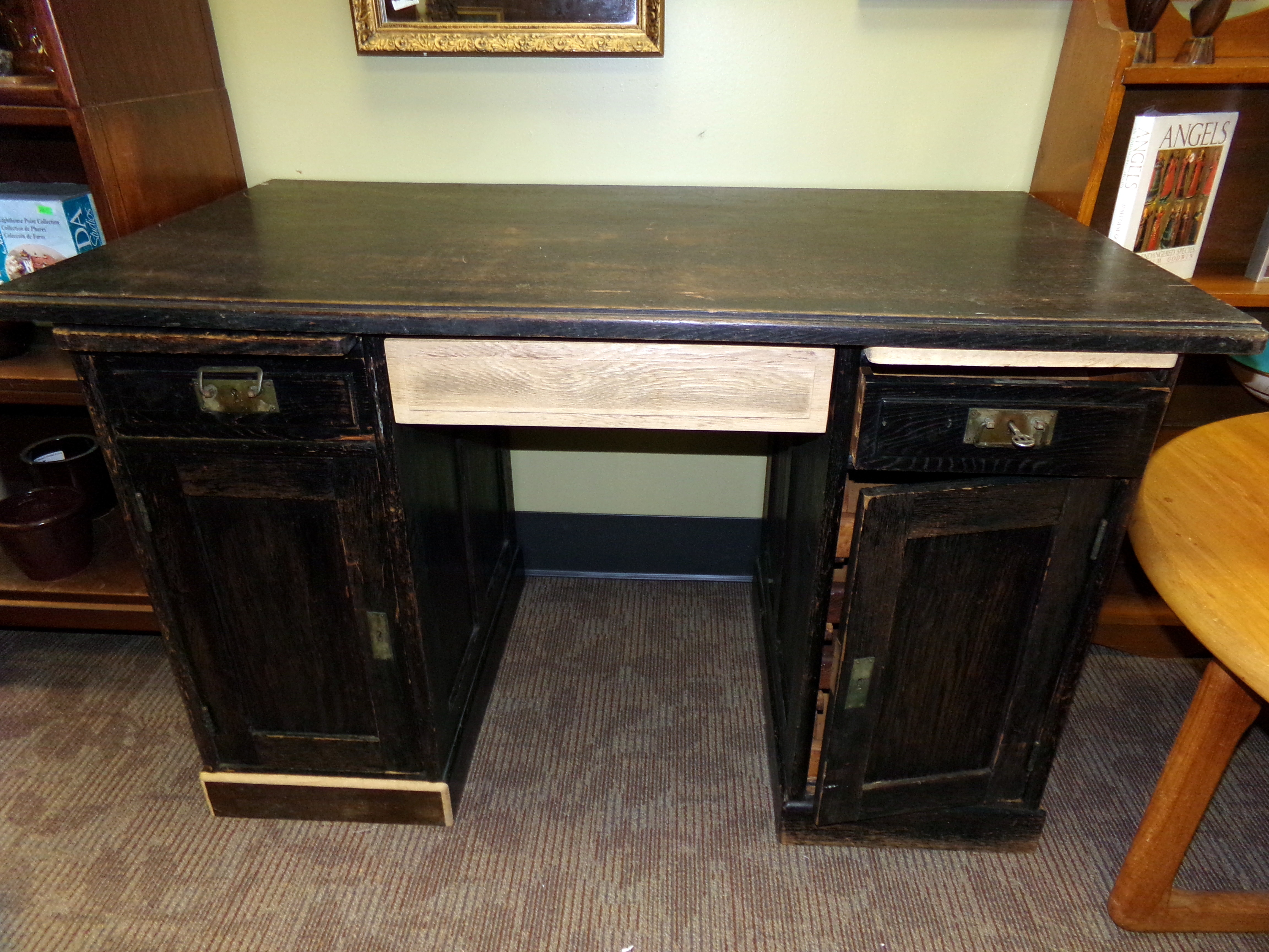 Antique C 1880 S Mission Style Oak Desk With Pull Out Side Shelves Curiosity Consignment