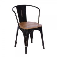 Buy Rustic Metal & Wood Dining Chair | Black Frame Chairs ...