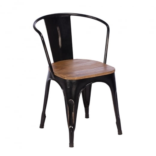 Buy Rustic Metal  Wood Dining Chair  Black Frame Chairs