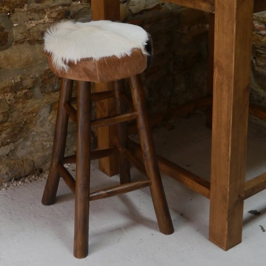 tree stump chairs gym chair amazon hide bar stool | goat fur curiosity interiors