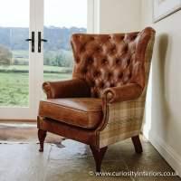 Tudor Leather & Tweed Wing Armchair