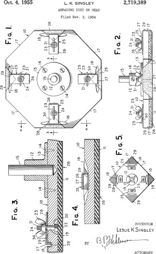 Abrading Disc or Head Patent Application US2719389 Filed November 5, 1954 An improved sanding disc for use upon a drill press or the like and designed particularly to facilitate the use of standard square sand paper, abrading cloth and the like.