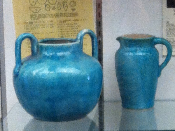 Pisgah Forest Pottery with bright turquoise blue glaze