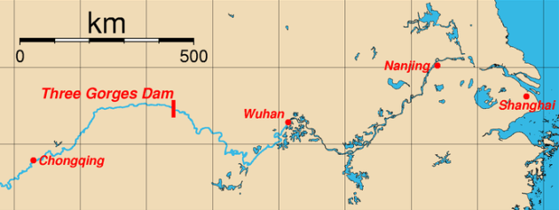 Mapa da localização da Hidroelétrica Três Gargantas, Sandouping, Yichang, Província de Hubei, China e cidades maiores na beira do Rio Yangtze