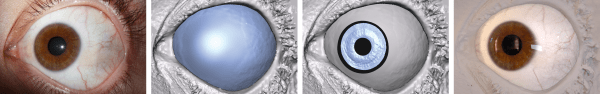 Olho Real (à esquerda) e réplicas do olho geradas por computador