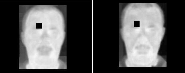 O algoritmo comparou o rubor no rosto sóbrio (à esquerda) versus bêbado, um pixel de cada vez