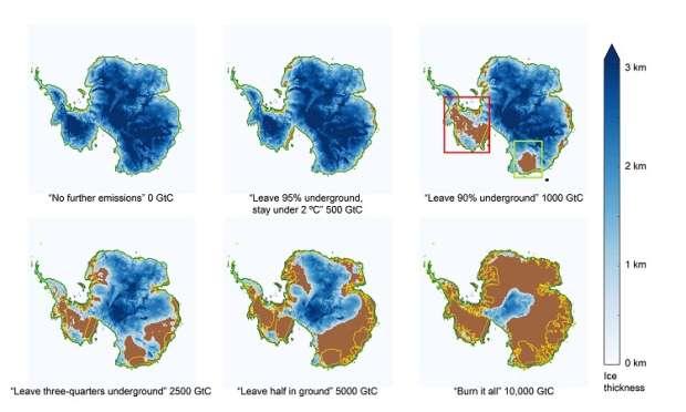 Como o gelo da Antártida (em azul) se sairia em diferentes cenários de emissões de carbono