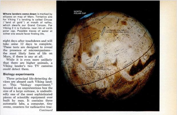 Wernher von Braun explica instrumentos de biologia da Viking na edição de julho de 1976 da Popular Science.
