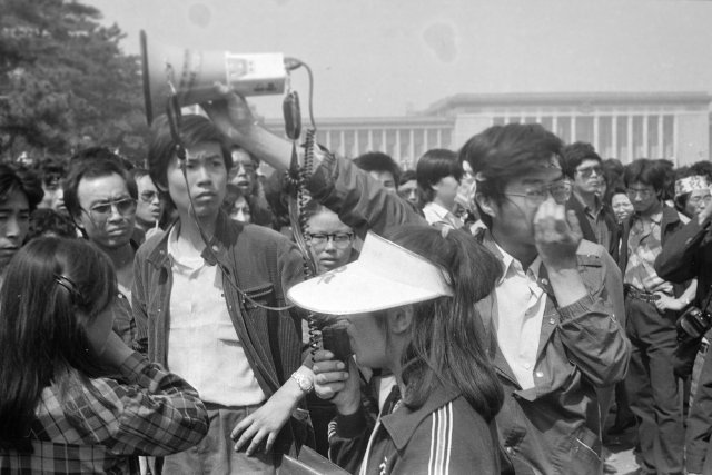 protestors at Tiananmen squre