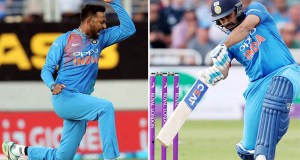 India's Krunal Pandya and Rohit Sharma