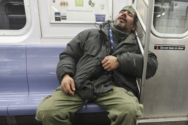 Sleeping in metro