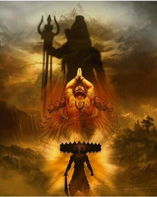 Ravana praying to lord shiva Ramayana