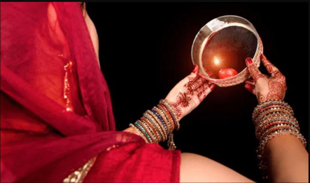 Karva Chauth pooja and moon