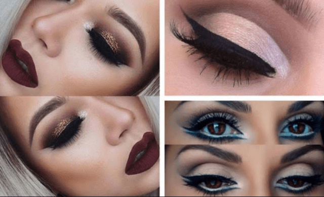 Popping Gold Eyes With Dark Bold Lips Makeup Looks