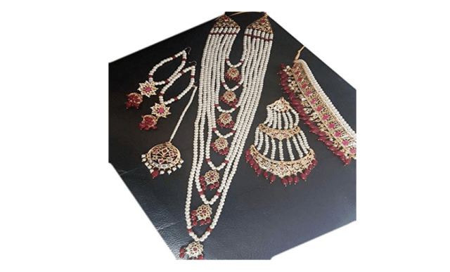 Sadias Hyderabadi Jewelry Red Complete Bridal Set - Curiouskeeda