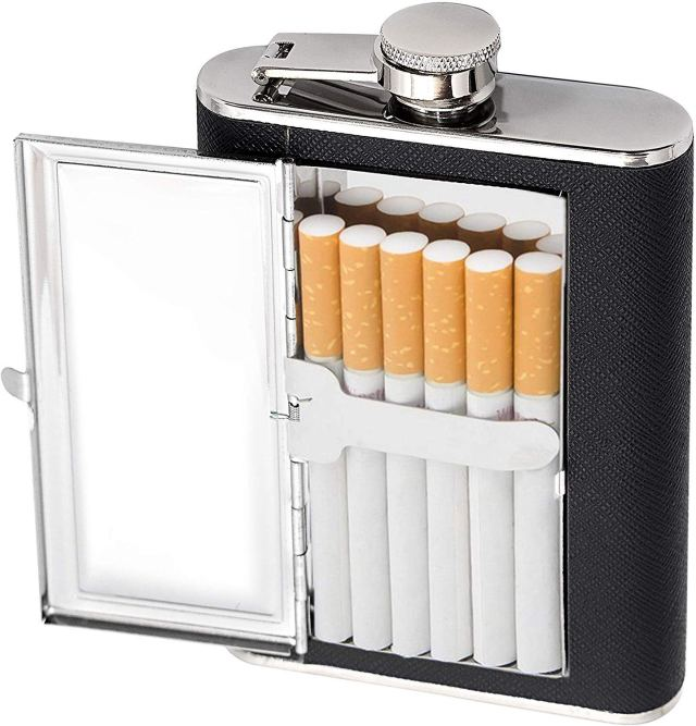Hip flask with cigarettes holder