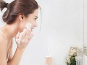 Women applying facewash