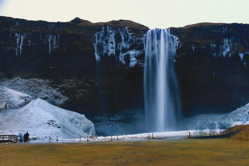 Seljalandsfoss - you can walk up around and behind this waterfall, but the whole area was so frozen when we got there that people were falling, and the stairs were basically ice sculptures.