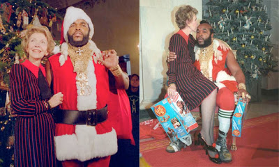 Nancy Reagan sentada en las rodillas de Mr. T