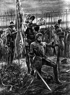 Enrique VII coronado en la batalla de Bosworth