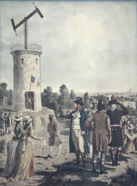 Grabado de un telégrafo óptico de Chappe