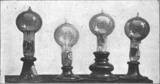 Bombillas de Edison, de los años 1880