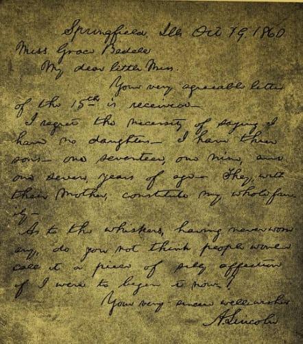 Respuesta de Lincoln a Grace Bedell