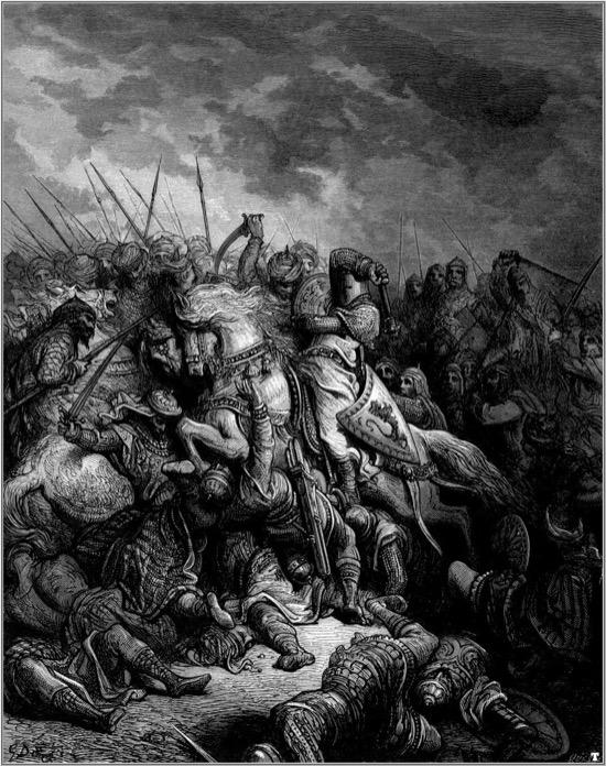 Ricardo I y Saladino en la batalla de Arsuf - Gustave Doré