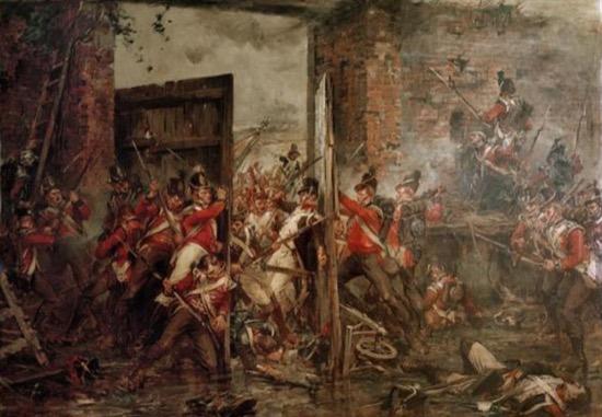 Cerrando las puertas de Hougoumont, de Robert Gibbs (1815)