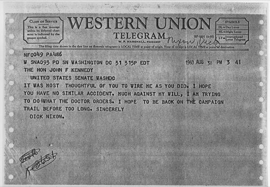 El telegrama de agradecimiento de Nixon a Kennedy por parar su campaña