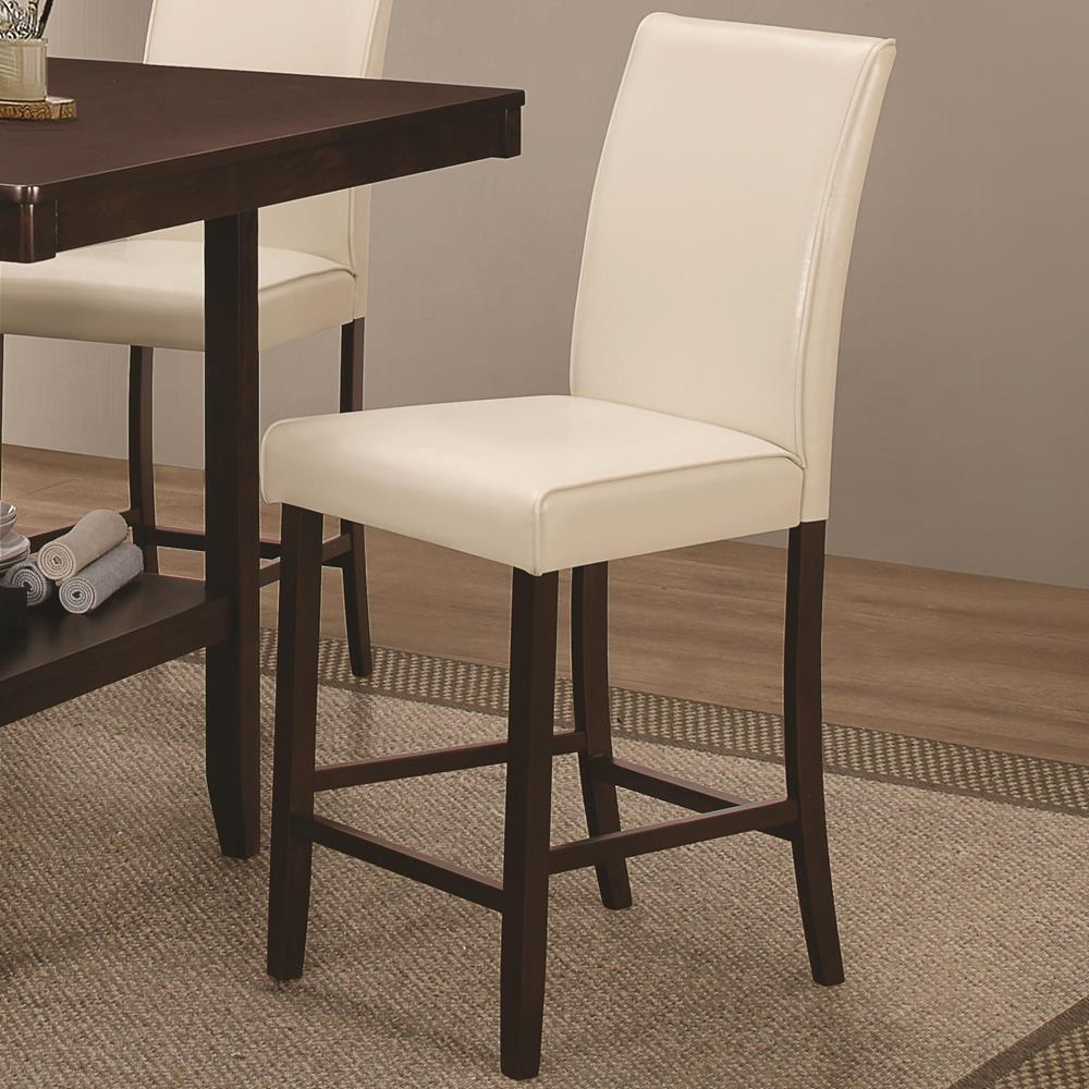 upholstered counter height chairs rattan chair cushion covers coaster 105309 fattori creme 24 stool curley s