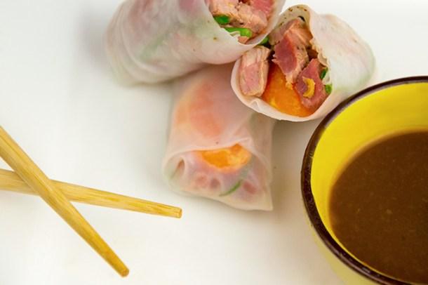Chinese rijstrollen met eend en mandarijn