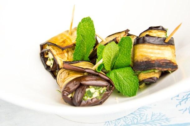 Gevulde aubergine met feta en spinazie