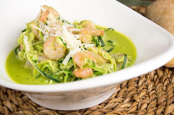 Recept Courgette met garnalen en pesto