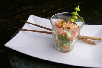 Recept Oosterse zalmtartaar met komkommer