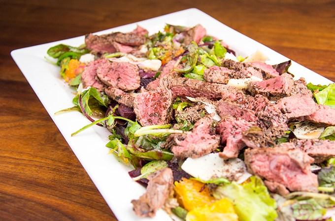 Recept Salade met biefstuk en chocola