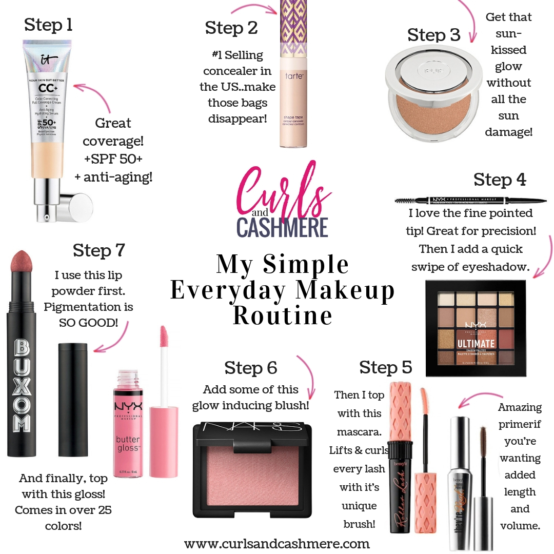 My Simple Everyday Makeup Routine. Ashley of Curls and Cashmere shares her must-have beauty products that she uses daily ...