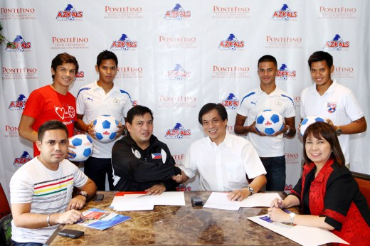 Shown in photo from left to right (standing) are Azkals players: Misagh Bahadoran, Marwin Angeles, Jeffrey Cristiaens, and Marvin Angeles Seated from left to right: Azkals Team Coordinator Patrick Ace Bright, Team Manager Dan Palami, Pontefino Hotel & Residences President and Chief Executive Officer Ricky Gutierrez, and SVP & Chief Operating Officer Fely T. Ramos