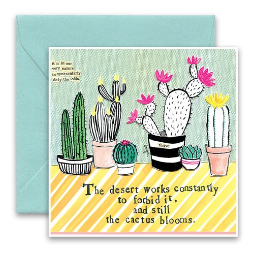 Cactus Greeting Card Curly Girl Design