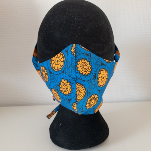 masque anti-projection lavable réglable coton wax coronavirus covid-19 protection visage nez bouche MANDARINE