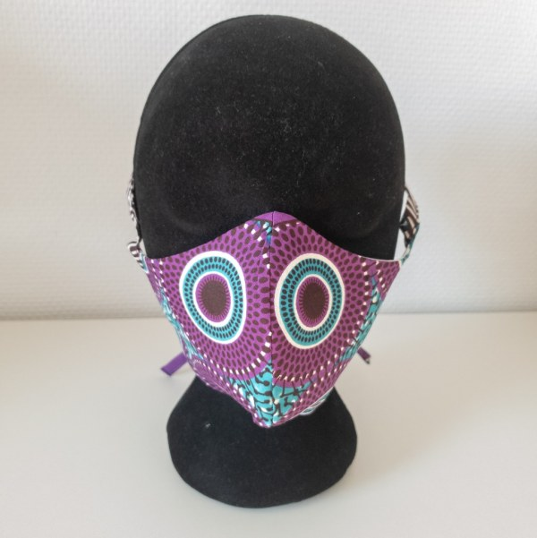 masque anti-projection lavable réglable coton wax coronavirus covid-19 protection visage nez bouche VIOLINE