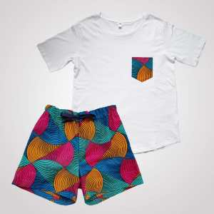 pyjama t-shirt short en wax été curly nights poches ARLEQUIN