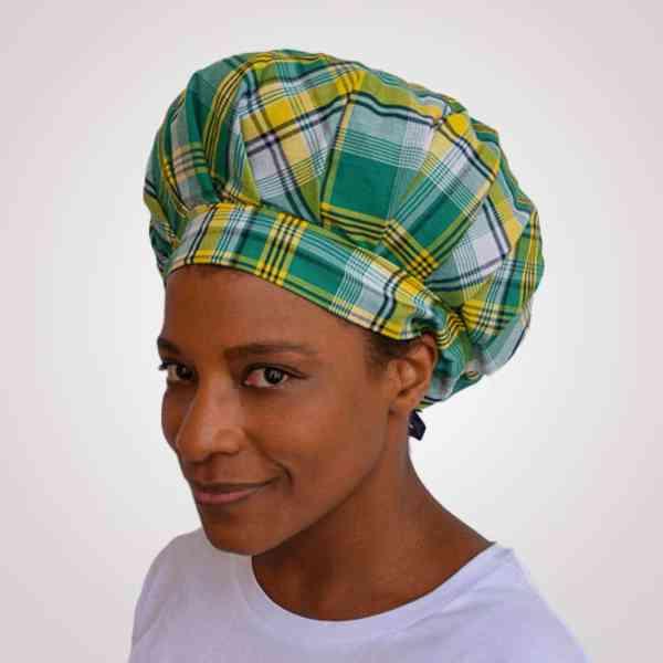 bonnet satin nuit réglable curly nights cheveux bouclés crépus protection madras vert