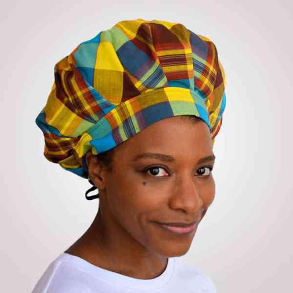 bonnet satin nuit réglable curly nights cheveux bouclés crépus protection madras bleu