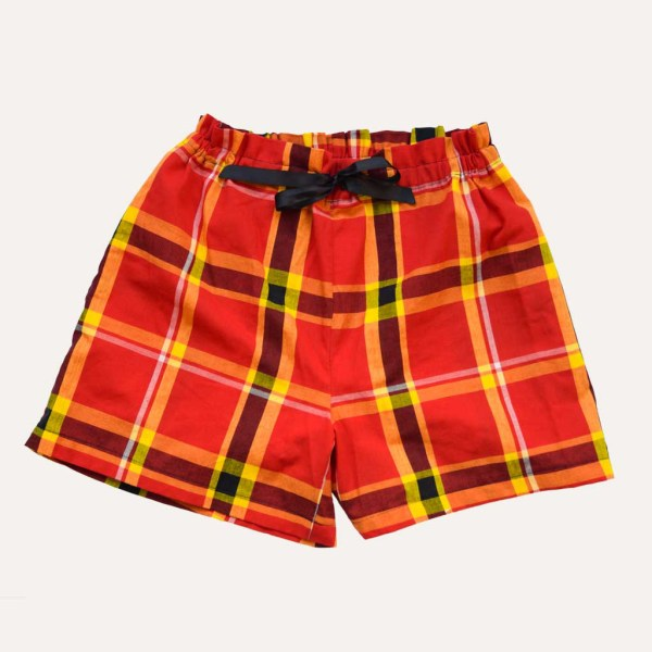 Short Pyjama Madras Rouge Coton Curly Nights