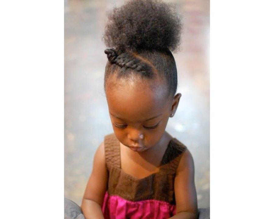 Inspiration,Enfant, Cheveux crépus, vanille, queue-de-cheval, puff, idées
