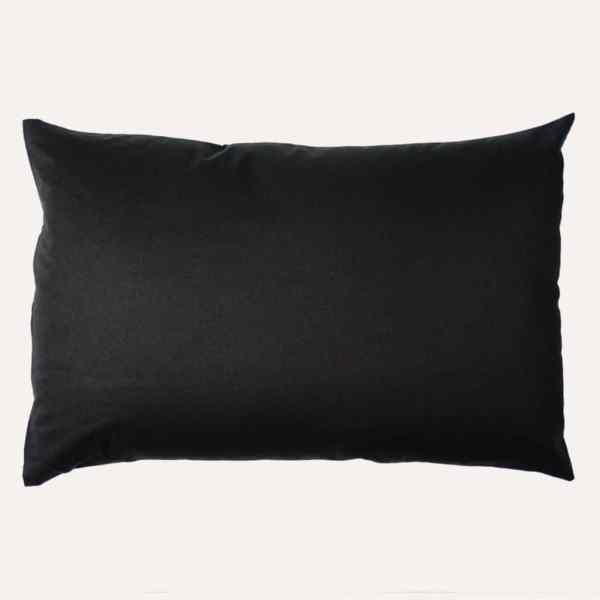 taie d'oreiller double face coton satin unie noir profond rectangulaire