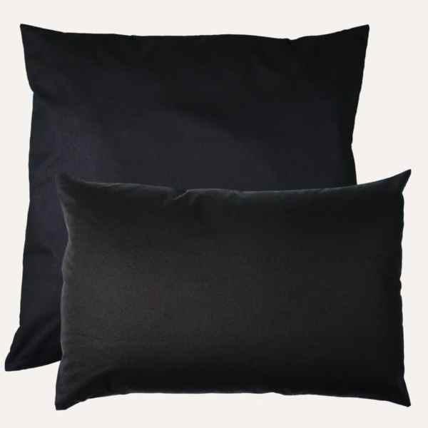 taie d'oreiller double face coton satin unie noir profond carrée et rectangulaire