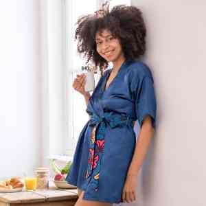 kimono satin ceinture wax OCEAN